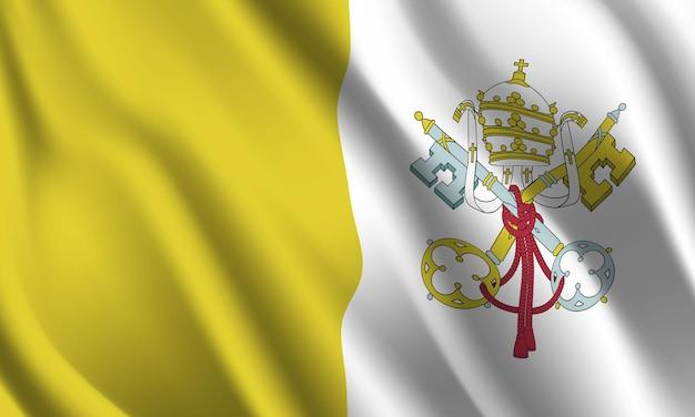 Wapperende vlag van vaticaanstad. wapperende vlag van vaticaanstad abstracte achtergrond