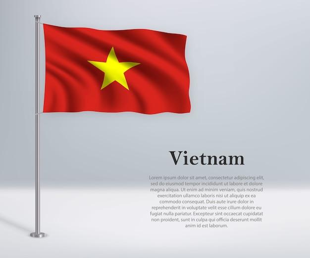 Wapperende vlag van vietnam op vlaggenmast
