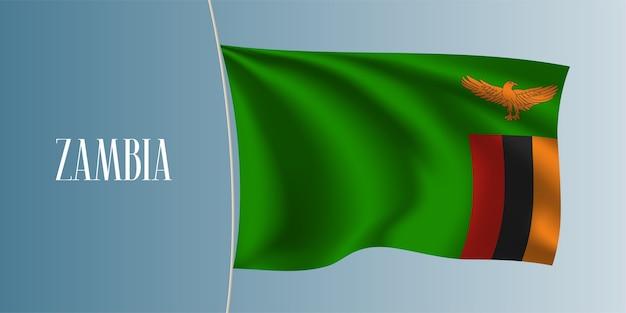 Wapperende vlag van zambia. iconisch nationaal zambiaans symbool