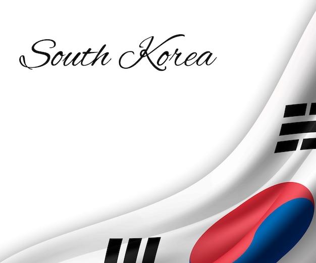 Wapperende vlag van zuid-korea op witte achtergrond.