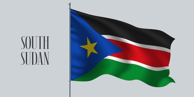 Wapperende vlag van zuid-soedan op vlaggenmast illustratie