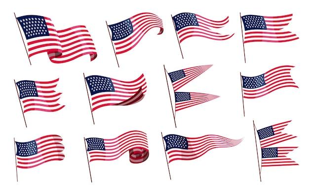 Wapperende vlaggen. reeks amerikaanse vlaggen op witte achtergrond. nationale vlaggen met symbolen.