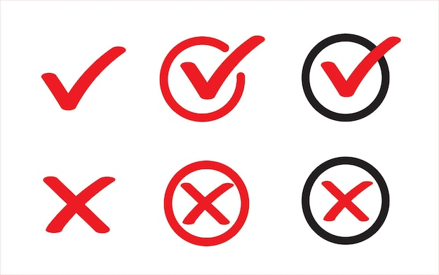 Ware en valse platte pictogrammen vinkje en rood kruispictogram ja of nee