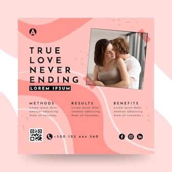 Ware liefde eindigt nooit vierkante flyer