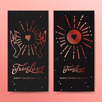 Ware liefde webbanners, esoterische valentijnsdag kaart.