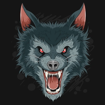 Ware wolf dog head dark night-kunstwerk