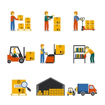 Warehouse icon flat