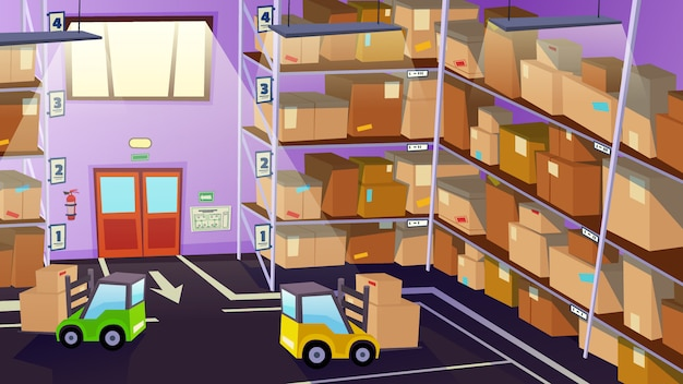 Warehouse inside interior with logistics transport