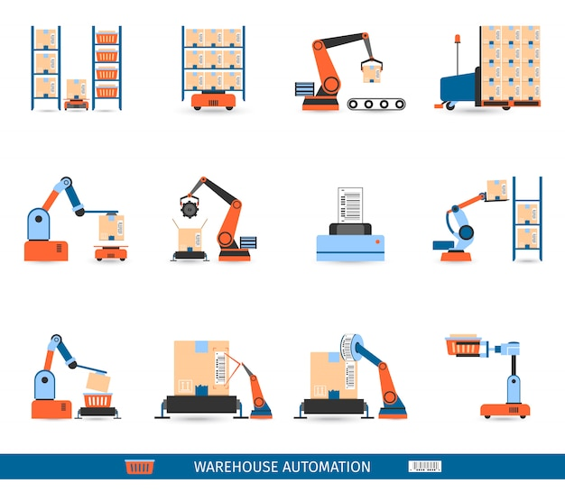 Warehouse robots icons set