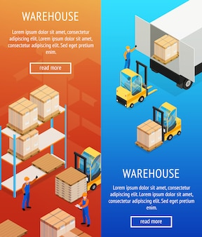 Warehouse verticale isometrische banners