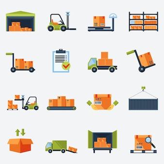 Warehouse vervoer en bezorging pictogrammen platte set geïsoleerde vector illustratie
