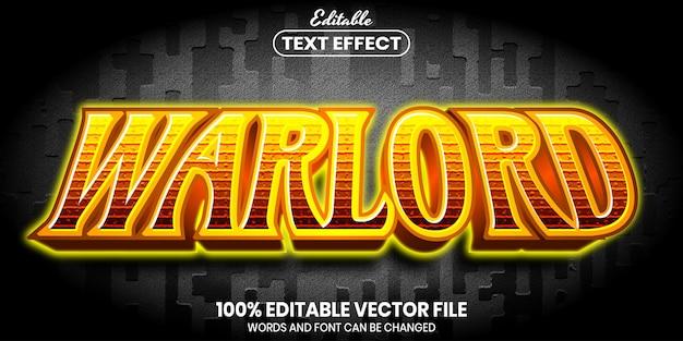 Warlord-tekst, bewerkbaar teksteffect in lettertypestijl