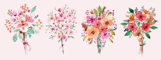 Warm gekleurde bloemen handgeschilderde aquarel boeket set