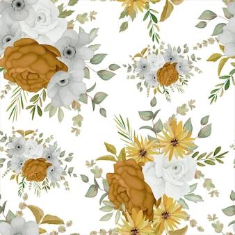 Warm herfst bloemen naadloos patroonontwerp