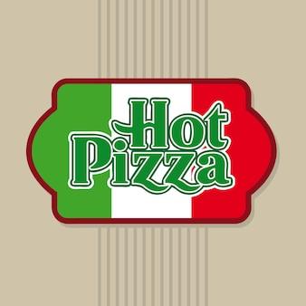 Warm pizzaetiket over beige vectorillustratie als achtergrond