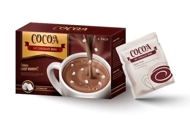 Warme chocolademelk kartonnen doos pakket, geïsoleerde witte achtergrond Premium Vector