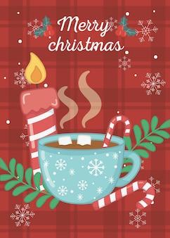 Warme chocolademelk marshmallow kaars vrolijk kerstkaart