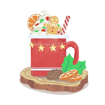 Warme chocolademelk met kerstversiering