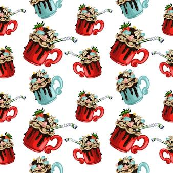 Warme chocolademelk vector naadloze patroon voor behang, verpakking, verpakking
