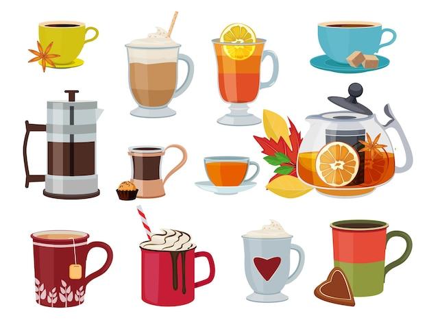 Warme dranken. warme ontbijt vloeibare producten thee koffie met melk glühwein foto's set.