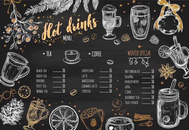 Warme dranken winter schoolbord menu ontwerp