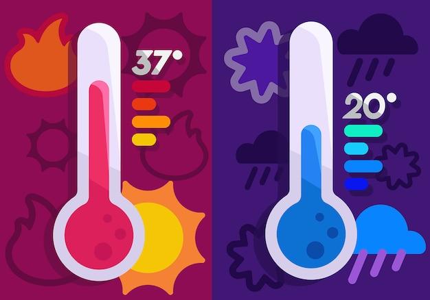 Warme en koude thermometer Premium Vector