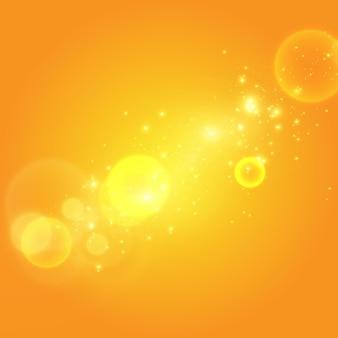 Warme glitter op een gele achtergrond