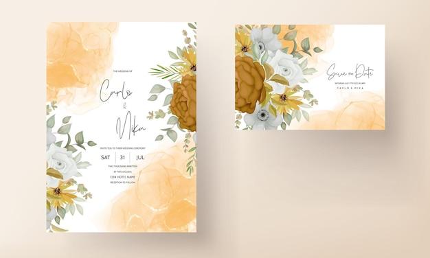 Warme herfst bloemen bruiloft uitnodigingskaart Premium Vector
