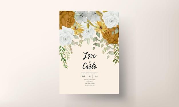 Warme herfst bloemen bruiloft uitnodigingskaart