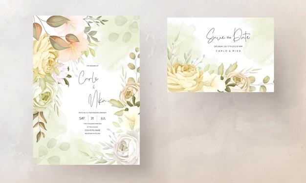 Warme herfst herfst bloemen bruiloft uitnodiging kaartsjabloon