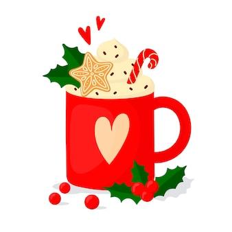 Warme kerstdrank met marshmallows en koekjes. cartoon-achtige illustratie.