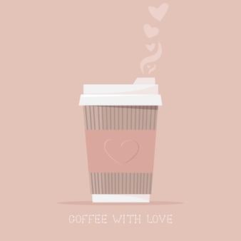 Warme koffie in een papieren beker met liefde. warme drank, koffie om mee te nemen.