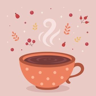 Warme koffiekop herfst warme drank hallo herfst