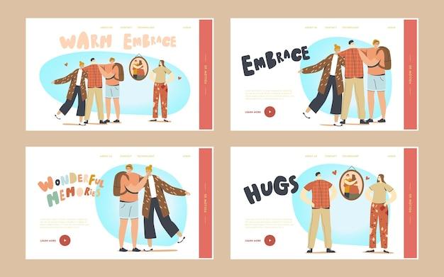 Warme omhelzing, knuffels met vrienden landingspagina sjabloon set. vriendelijke karakters die elkaar knuffelen. internationale vriendschapsdagviering, vrede, zoete herinneringen. cartoon mensen vectorillustratie