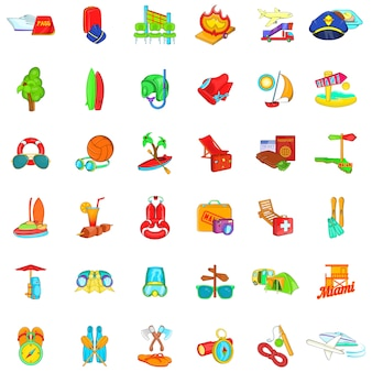 Warme vakantie iconen set, cartoon stijl