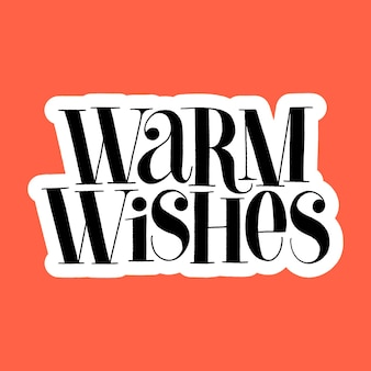 Warme wensen handgetekende letters voor de kersttijd