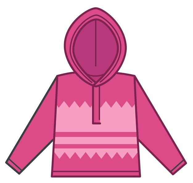 Warme winter- of herfstkleding voor meisjes, geïsoleerd roze sweatshirt met capuchon. modieuze kleding voor kinderen en tieners. winkelen en kleding kopen voor de koude seizoenen. vector in vlakke stijl