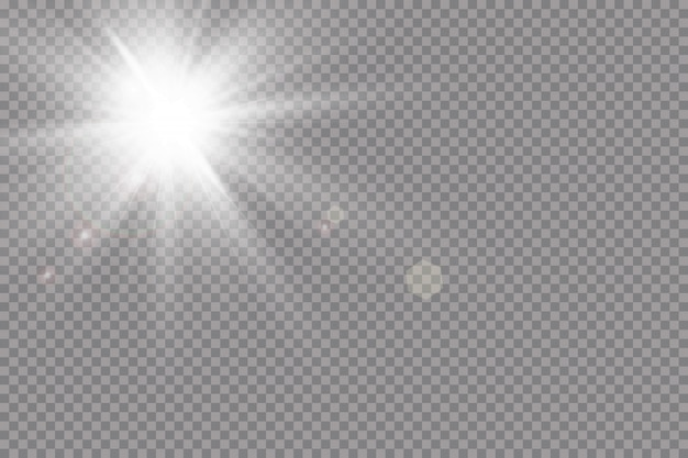 Warme zon achtergrond. leto.bliki zonnestralen. wit gloeiend licht explodeert op een transparante achtergrond. met straal. transparante stralende zon, felle flits. speciaal lensflare-lichteffect.