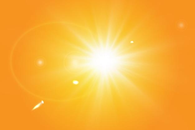 Warme zon op een gele achtergrond. leto.bliki zonnestralen.