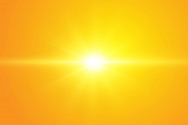 Warme zon op een gele achtergrond.