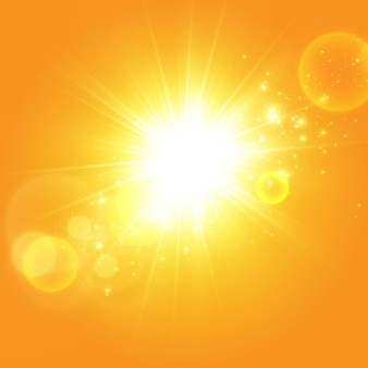 Warme zon op een gele achtergrond