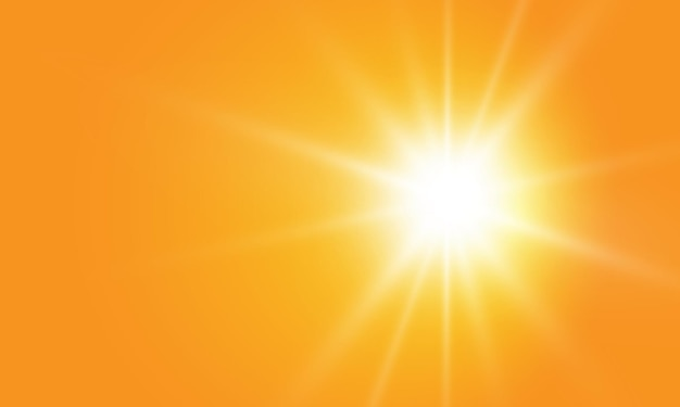 Warme zon op gele achtergrond