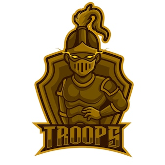 Warrior actie pose, mascotte esports logo vectorillustratie