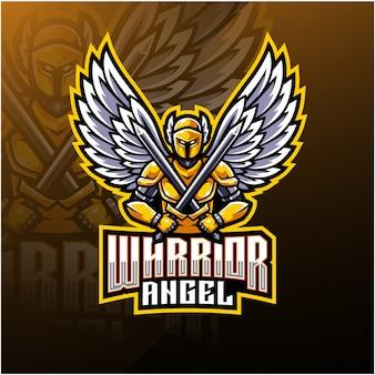 Warrior engel mascotte logo ontwerp