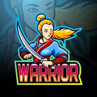 Warrior girl esport logo mascotte ontwerp Premium Vector