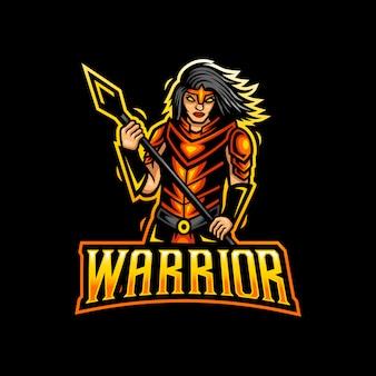Warrior girl mascotte logo esport gaming