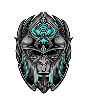 Warrior knight monkey mask vector