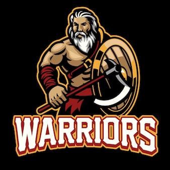 Warrior-mascotte met het schild en de bijl