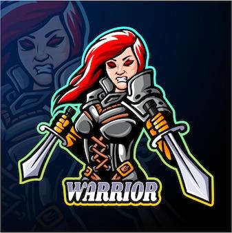 Warrior meisje esport logo mascotte ontwerp