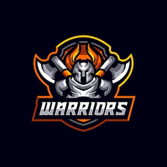 Warrior soldier geïsoleerde sport mascotte logo sjabloon
